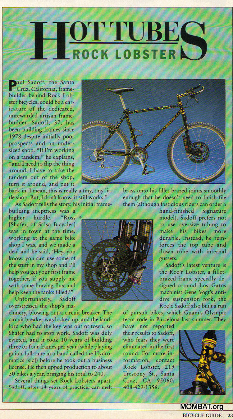 MOMBAT: Rock Lobster Bicycles History
