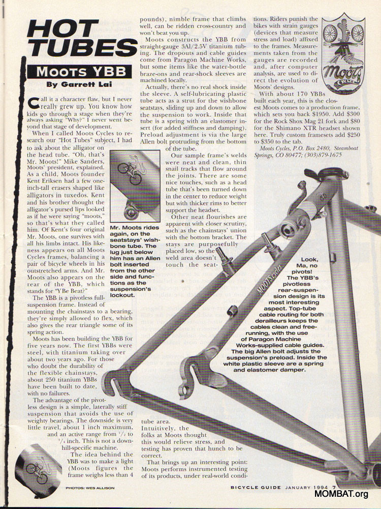 MOMBAT: Moots Bicycles History
