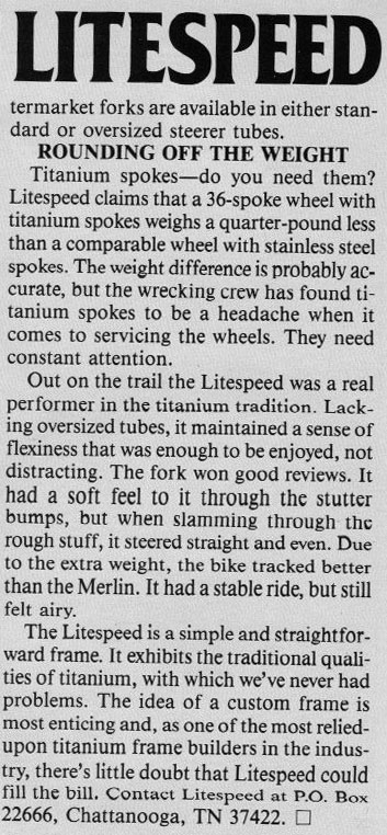 MOMBAT: Litespeed Bicycles History